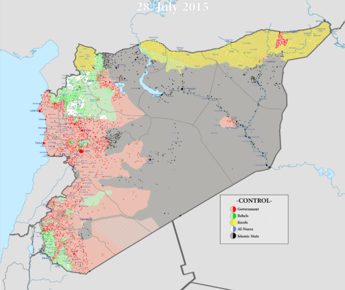 Map of territorial control in the Syrian Civil War as of 13 July 2015. Image from Wikimedia.